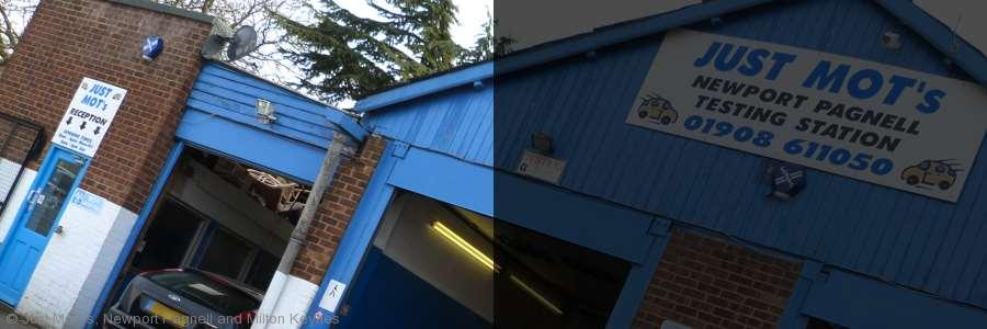 An image of the front of the workshop of Just MOTs of Milton Keynes